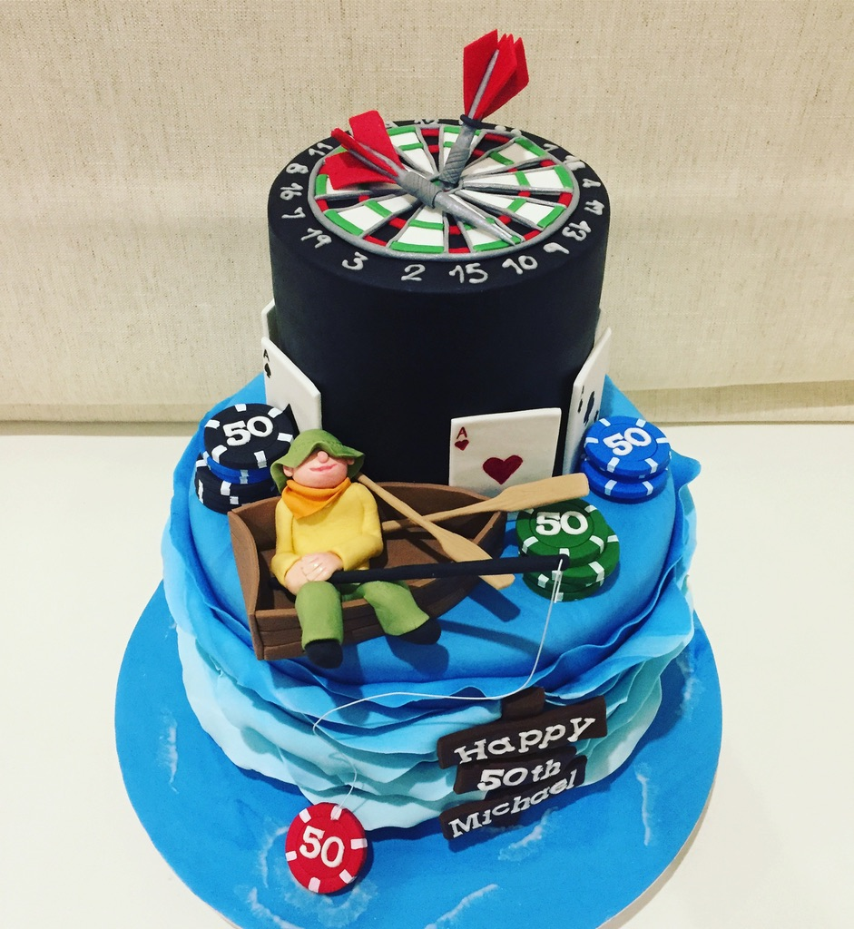 Fishing Poker and Dart Board Cake