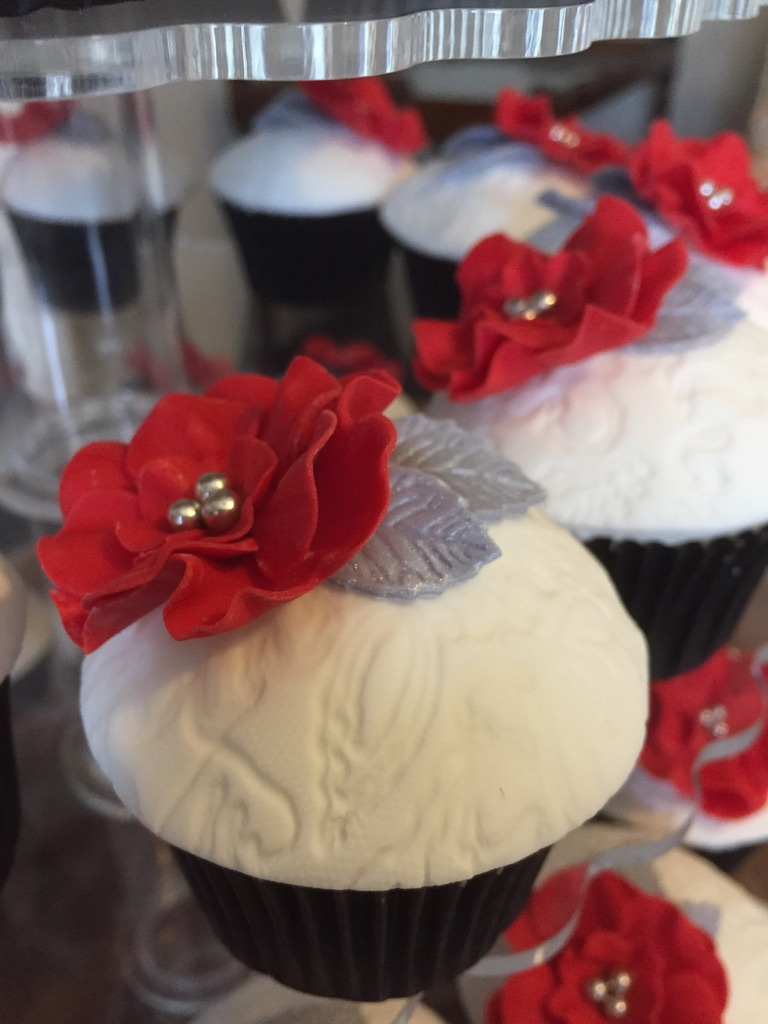 Red, Silver and white Cupcakes