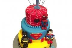 3 tiers Superheroes cake