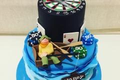 Fishing Poker and Dart Board Cake