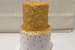 Gold Sequin and White cake