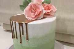 Ombre Green Buttercream gold drip cake