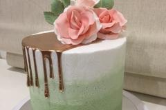 Ombre Green Buttercream gold drip cake