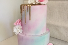 Pink and Aqua Watercolour Golden drip 2 tiers Cake