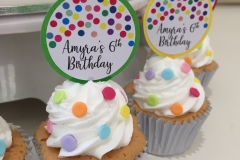 Rainbow Dots Cupcakes