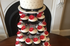 White, Black and Red wedding cake set